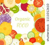 frame of sliced vegetables and... | Shutterstock .eps vector #1111012610