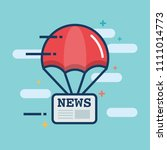 parachute with newspaper news... | Shutterstock .eps vector #1111014773