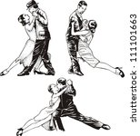 dancing couples. set of black... | Shutterstock .eps vector #111101663