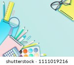 back to school paper art... | Shutterstock .eps vector #1111019216