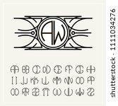 monogram  an art nouveau label... | Shutterstock .eps vector #1111034276