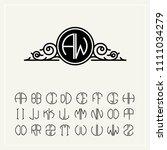 monogram  an baroque label with ... | Shutterstock .eps vector #1111034279
