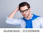 stunning cool macho holding... | Shutterstock . vector #1111036646
