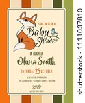 baby shower card with cute... | Shutterstock .eps vector #1111037810
