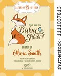 baby shower card with cute... | Shutterstock .eps vector #1111037813