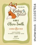 baby shower card with cute... | Shutterstock .eps vector #1111037816
