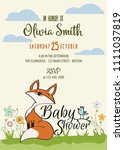 baby shower card with cute... | Shutterstock .eps vector #1111037819