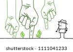 big green hands with cartoon... | Shutterstock .eps vector #1111041233