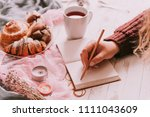 woman hand making notes in... | Shutterstock . vector #1111043609