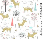 seamless pattern with forest... | Shutterstock .eps vector #1111061483
