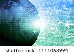 abstract binary earth. 3d... | Shutterstock . vector #1111063994