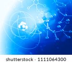 atom with molecules. abstract...   Shutterstock . vector #1111064300