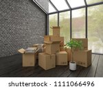 nterior with packed cardboard... | Shutterstock . vector #1111066496
