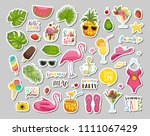 summer set with hand drawn... | Shutterstock .eps vector #1111067429
