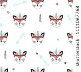 seamless pattern with cute... | Shutterstock .eps vector #1111067768