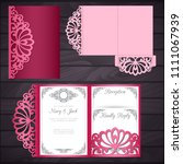 laser cut wedding trifold... | Shutterstock .eps vector #1111067939