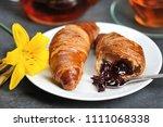 breakfast with croissants   tea ...   Shutterstock . vector #1111068338