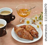morning coffee and croissants ...   Shutterstock . vector #1111068470
