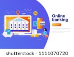 online banking modern flat... | Shutterstock .eps vector #1111070720