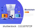 cryptocurrency and blockchain... | Shutterstock .eps vector #1111070729