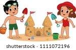 two little kids having fun on... | Shutterstock .eps vector #1111072196