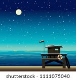 lifeguard station on a beach... | Shutterstock .eps vector #1111075040