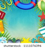 top view of summer holidays... | Shutterstock .eps vector #1111076396