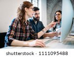 young architects working on... | Shutterstock . vector #1111095488