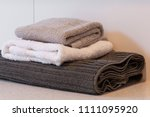 folded kitchen towels close up | Shutterstock . vector #1111095920