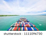 aerial view container cargo...   Shutterstock . vector #1111096730