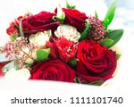 beautiful vibrant red roses... | Shutterstock . vector #1111101740