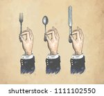 hands with cutleries. spoon ... | Shutterstock .eps vector #1111102550