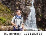 tourist in tongariro national... | Shutterstock . vector #1111103513