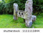 Stocks in the village of Belstone in Dartmoor National Park - stock photo