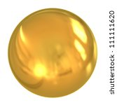 3d Golden Ball Isolated On...
