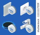 water meter  analog electric... | Shutterstock .eps vector #1111117559