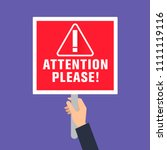 attention please sign  concept... | Shutterstock .eps vector #1111119116