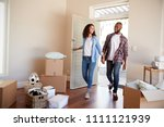 couple holding hands walk into... | Shutterstock . vector #1111121939