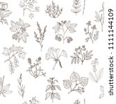 seamless pattern with hand... | Shutterstock .eps vector #1111144109