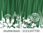 vector grass seamless pattern. | Shutterstock .eps vector #1111147733