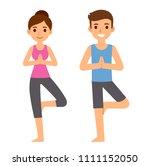 cute cartoon yoga couple... | Shutterstock .eps vector #1111152050