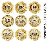 set of gold badge and label | Shutterstock .eps vector #1111156826
