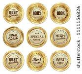 set of golden badges and labels ... | Shutterstock .eps vector #1111156826