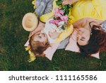 tender woman in yellow clothes...   Shutterstock . vector #1111165586