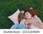 tender woman and little cute... | Shutterstock . vector #1111165604