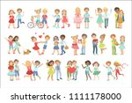 teenager couples in love | Shutterstock .eps vector #1111178000