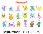 friendly monsters with birthday ... | Shutterstock .eps vector #1111178276