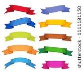 set of ten multicolor ribbons... | Shutterstock . vector #1111181150