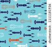 navy  orange  white lobster... | Shutterstock .eps vector #1111181936