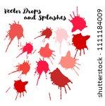 red vector splashes  hand... | Shutterstock .eps vector #1111184009